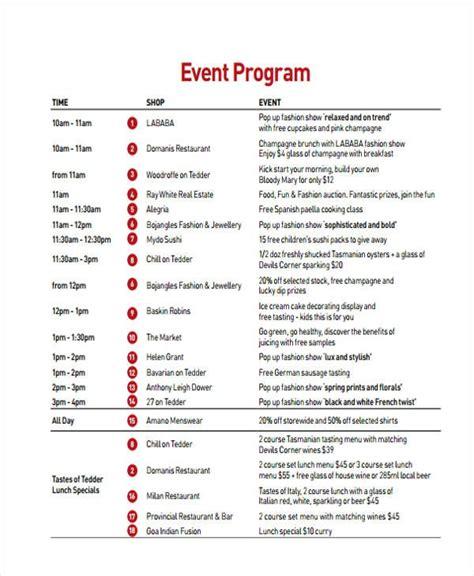 image result  debut program flow sample event program