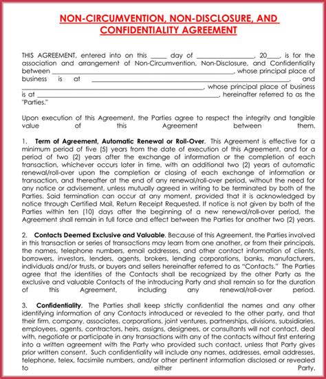 disclosure agreement confidentiality samples