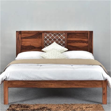 Wood Bed Frame With Headboard by Lattice Solid Wood Rustic Platform Bed Frame W