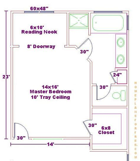 14x16 master bedroom floor plan with bath and walk in