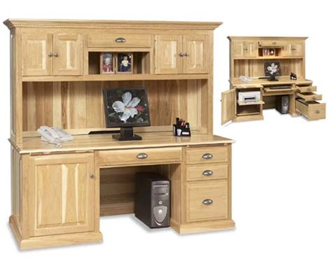 solid oak computer desk with hutch amish traditional computer desk and hutch amish office