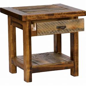 Rustic wyoming single drawer end table for Rustic end table