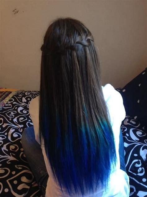 Royal Blue Dip Dyed Hair Dip Dyed Waterfall Braid All