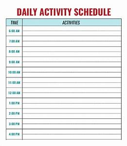 daycare schedule template 7 free word pdf format With daily activity schedule template
