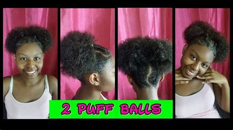 2 Braided Afro Puffs Updo