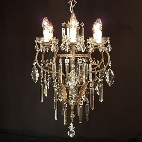 antique vintage chandelier ceiling l brass lustre lights ebay