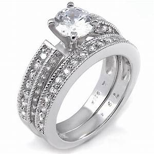 sterling silver cubic zirconia wedding ring set rs9049 With cubic zirconia wedding ring sets sterling silver