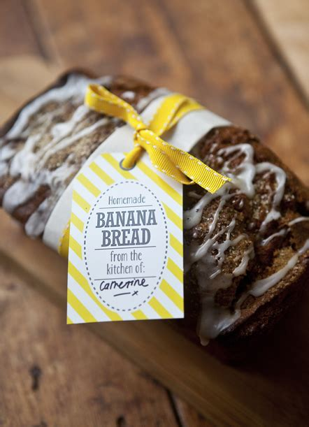 easy quick banana bread recipe  gift tag labels