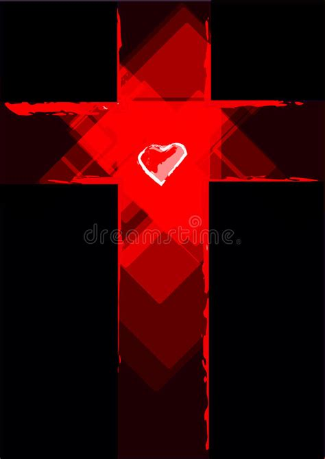 Cross Contemporary Abstract With A Heart In The Middle