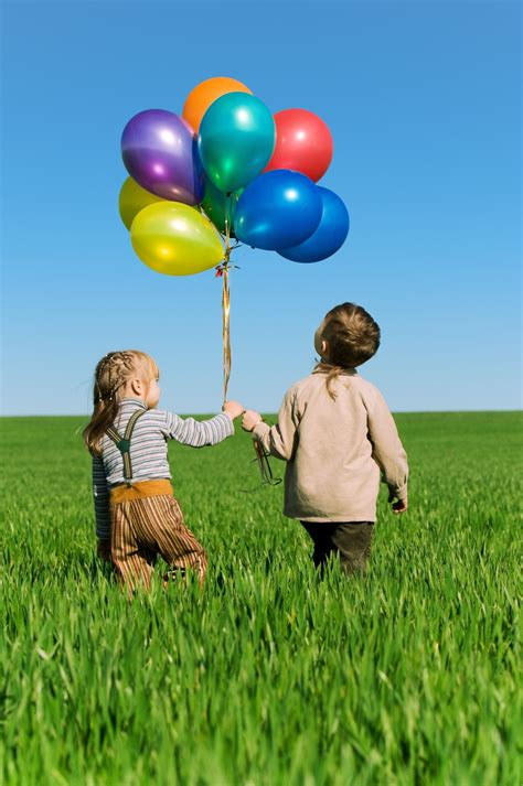 kids walking   balloons happy sisters invisible
