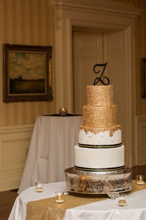 gold sequin  tier wedding cake  black  gold