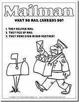 Community Mail Carrier Mailman Helpers Kindergarten Carriers Workers Unit Printable Letter Hat Template Preschool Coloring Postman Poem Office Police Crafts sketch template