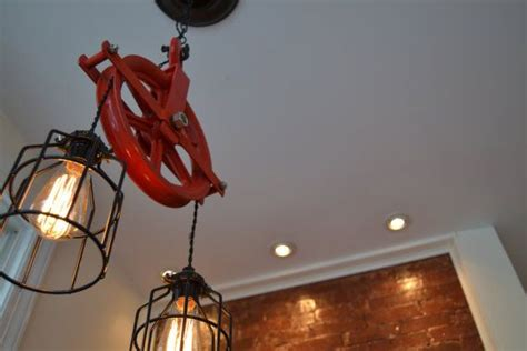 re purposed red barn pulley industrial light swag version
