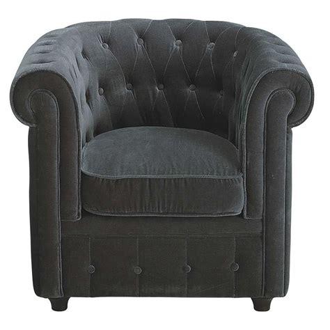 fauteuil de bureaux fauteuil velours gris capitonné chesterfield maisons du