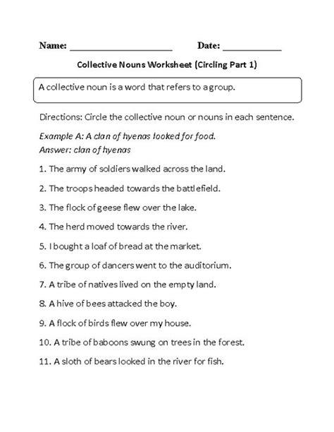 collective nouns worksheet circling part 1 beginner