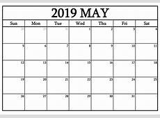 May 2019 Blank Calendar Calendar Niche Templates