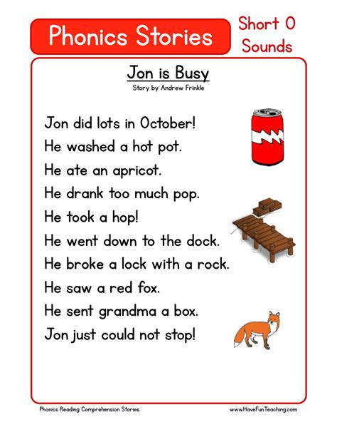 reading worksheets phonics reading comprehension worksheet jon is busy