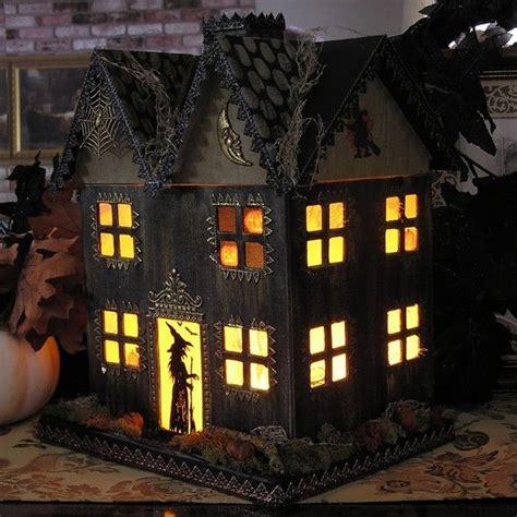 light up haunted house paper mache halloween folk art