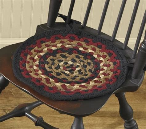 braided chair pads for kitchen chairs folk braided chair pad with ties by park designs 15