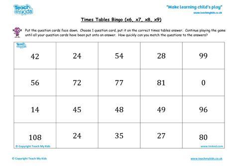 times tables bingo easy x6 x7 x8 x9 tmk education