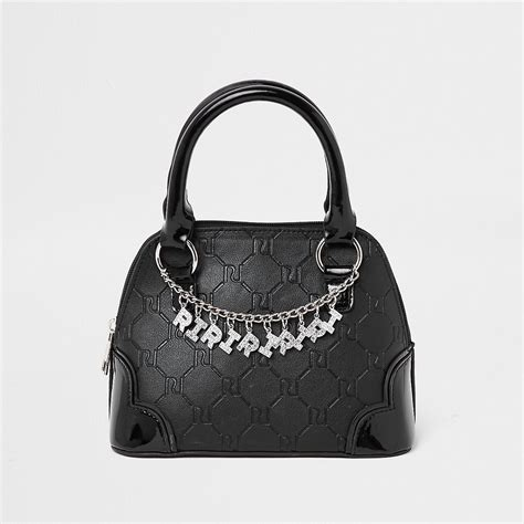 girls black ri monogram chain tote bag tote bags bags
