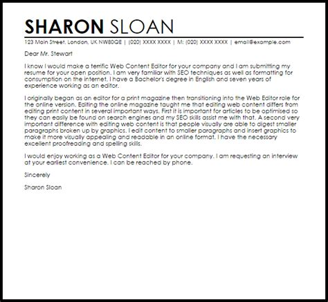 web content editor cover letter sle livecareer
