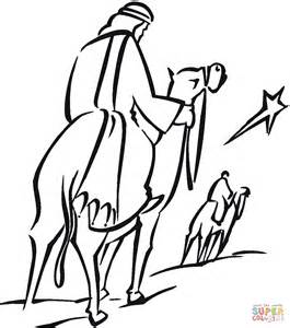 Wise Men And Shining Christmas Star Coloring Page Free