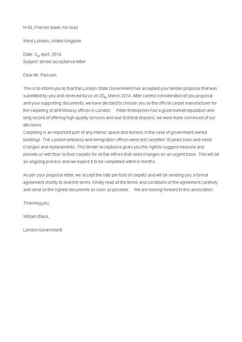 tender offer acceptance letter templates