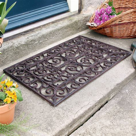 Outside Doormats by Traditional Rectangular Outdoor Cast Iron Doormat By Dibor
