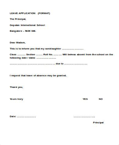 school leave application sample  examples  word