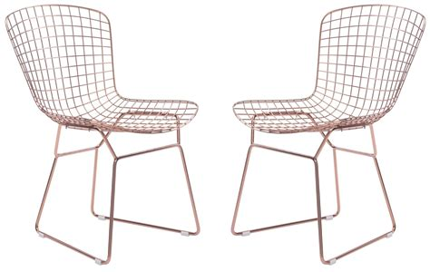 wire gold dining chair set of 2 from zuo mod 100361