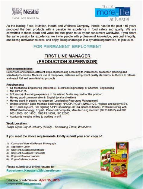 lowongan kerja  teknik pt nestle indonesia karawang