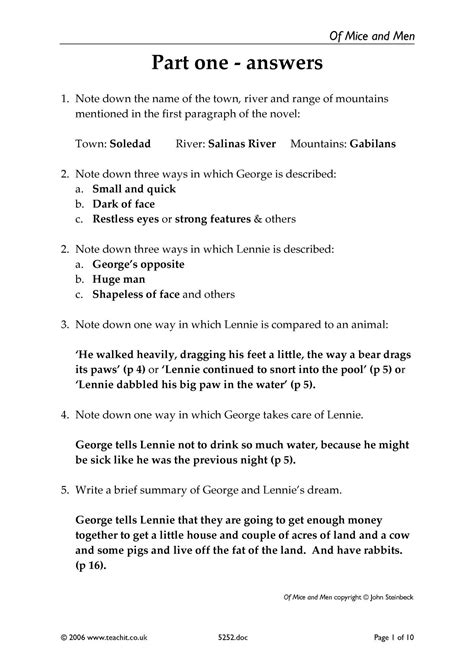 Consolidation Worksheets  The Answers  Of Mice And Men By John Steinbeck Home