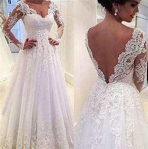 Real image long sleeve lace wedding dresses 2015 white for Long sleeve v neck wedding dress