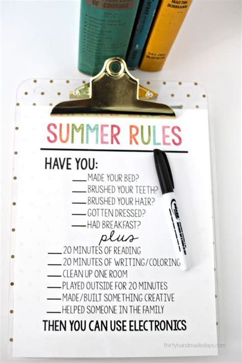 printable summer rules home management summer kids