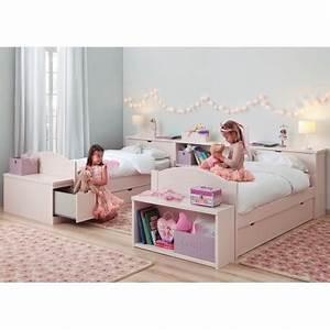 Lit Enfant Double : chambre double 2 enfants avec lits et rangements haut de gamme asoral ~ Teatrodelosmanantiales.com Idées de Décoration