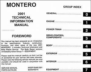 2001 Mitsubishi Montero Body Manual Original