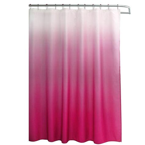creative home ideas ombre waffle weave 70 in w x 72 in l shower curtain with metal roller