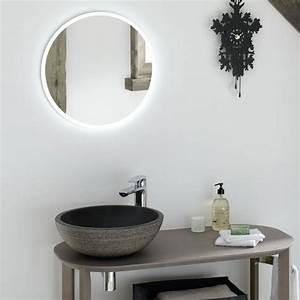 Miroir Rond Salle De Bain : miroir salle de bain lumineux rond time to bath ~ Nature-et-papiers.com Idées de Décoration