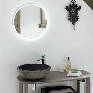 Miroir salle de bain lumineux rond time to bath for Miroir lumineux rond salle de bain