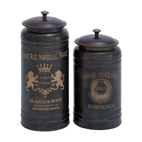 kitchen decorative canisters woodland imports 38125 decorative canisters set