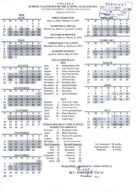 xavier university academic calendar