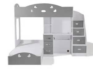 lit superpos 233 avec rangements et bureau 90x190cm combal gris blanc