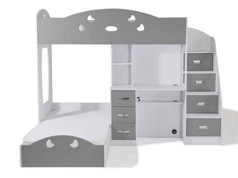 lit a etage avec bureau lit superposé avec rangements et bureau 90x190cm combal