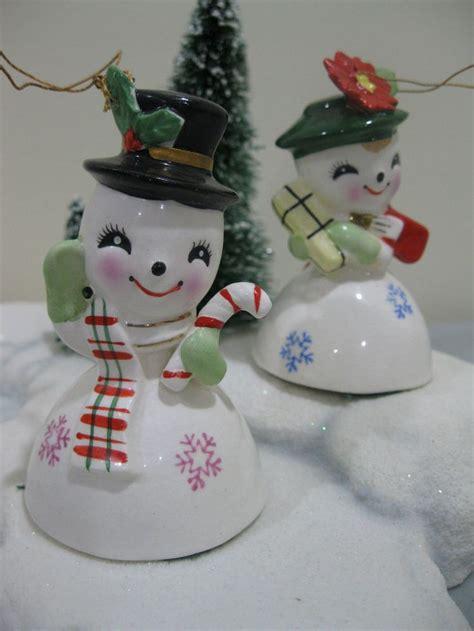 japanese ceramic christmas ornament 1950 vtg lefton 1956 snowman bell tree ornaments japan shopper boy snowman