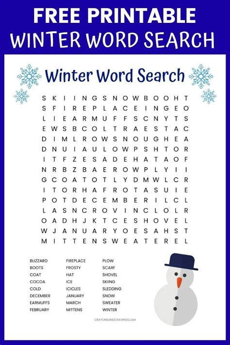 winter word search printable worksheet   winter
