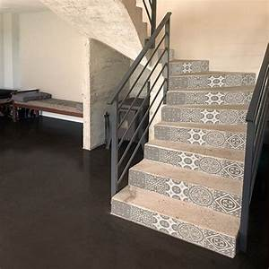 Escalier Carreaux De Ciment : sticker adh sif carreaux de ciment beige pastel pour ~ Dailycaller-alerts.com Idées de Décoration