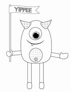 Cute monster coloring page coloring home for Mosnter template
