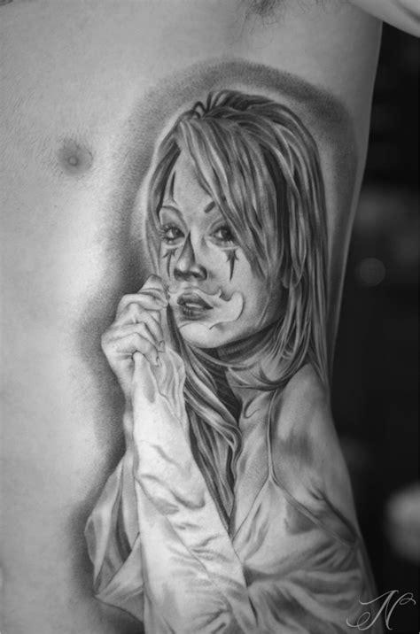 Gangster Clown Girl Sleeve Tattoo Designs