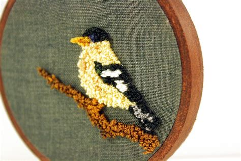 yellow finch punch needle embroidery wall art   frame